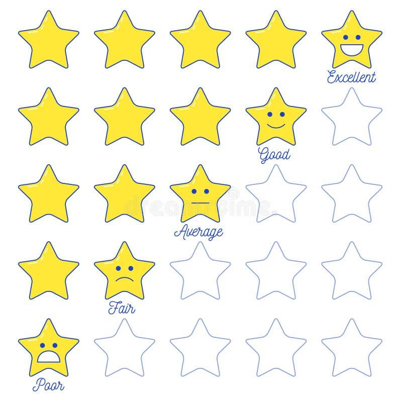 Feedback Emoticon-Sternskala stock abbildung