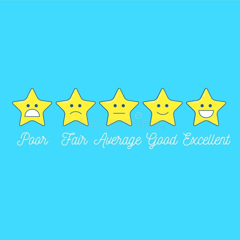 Feedback Emoticon-Sternskala Linie Designpositiv und -negativ stock abbildung