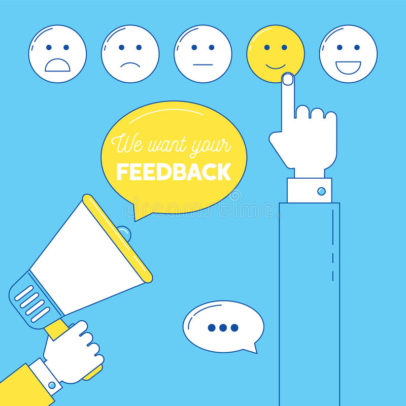 Feedback Emoticonskala stock abbildung
