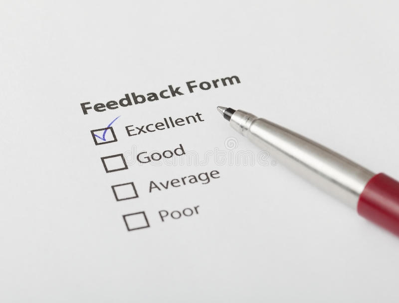 Feedback Form Checked With Excellent Royalty Free Stock Image