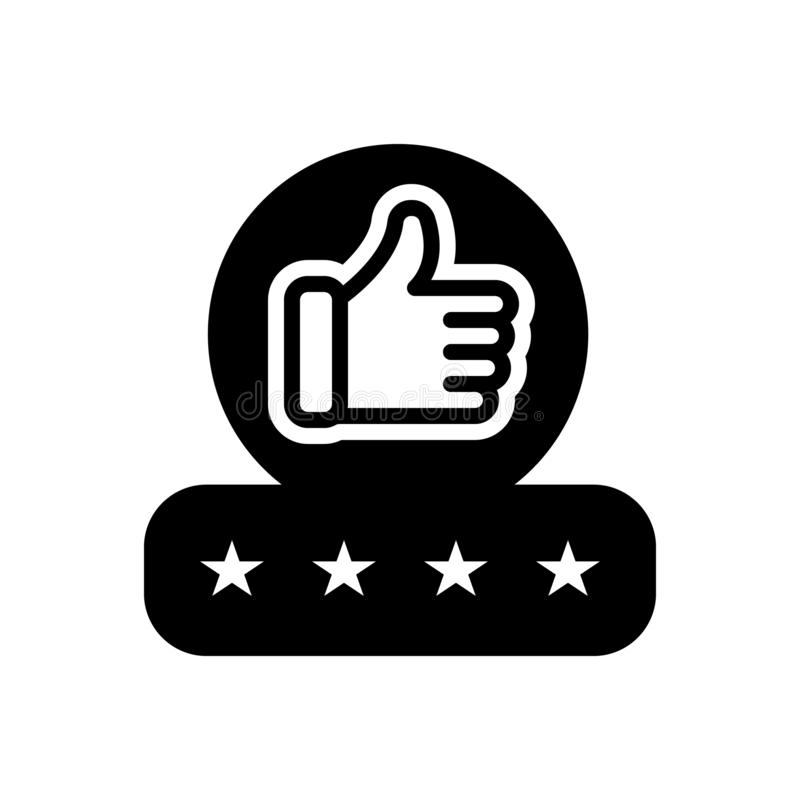 Black solid icon for Feedback, experience and testimonial. Black solid icon for Feedback, review, recognition, approval, thumb,  experience and testimonial vector illustration