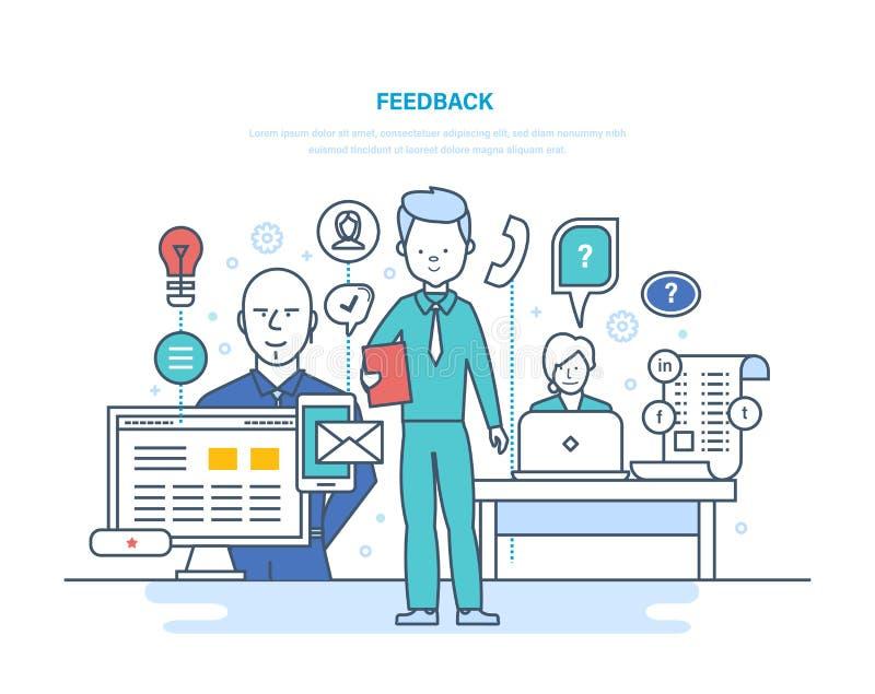 Feedback, Interaktion durch Kommunikationsmittel, soziale Netzwerke, beraten und plaudern stock abbildung