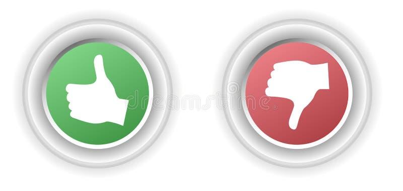 Feedback knöpft mit der Hand, die Zustimmung oder Missbilligung zeigt lizenzfreie abbildung