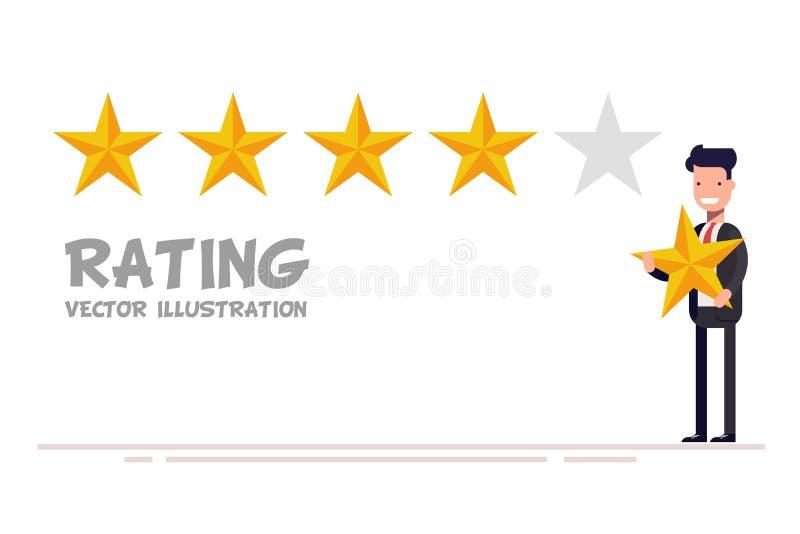 Feedback-Konzept Glückliche Geschäftsmannhand, welche die Bewertung mit fünf Sternen gibt lizenzfreie abbildung