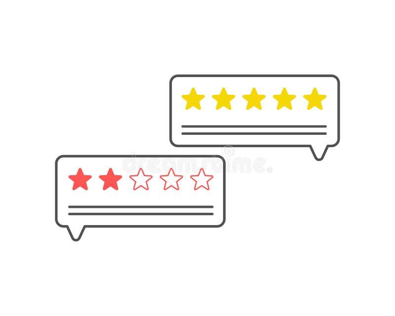 feedback Kundenrezensionskommunikationssymbol, Konzept des Feedbacks, Referenzen, on-line-Übersicht, veranschlagende Sterne, posi vektor abbildung
