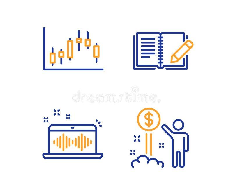 Feedback-, Musikherstellung und Kerzenständerdiagrammikonensatz Einkommensgeldzeichen Vektor stock abbildung