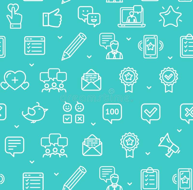 Feedback-nahtloser Muster-Hintergrund auf einem Blau Vektor stock abbildung