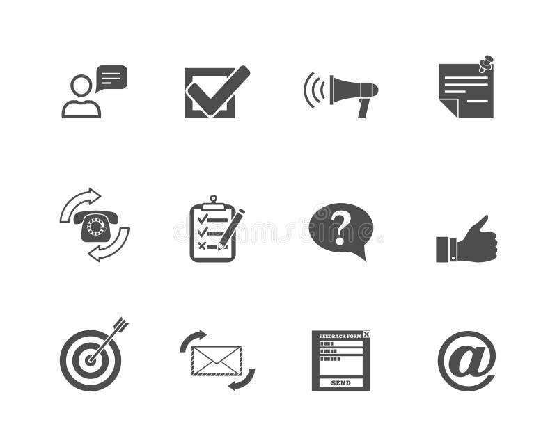 Feedback-Netz-Ikonen eingestellt stock abbildung