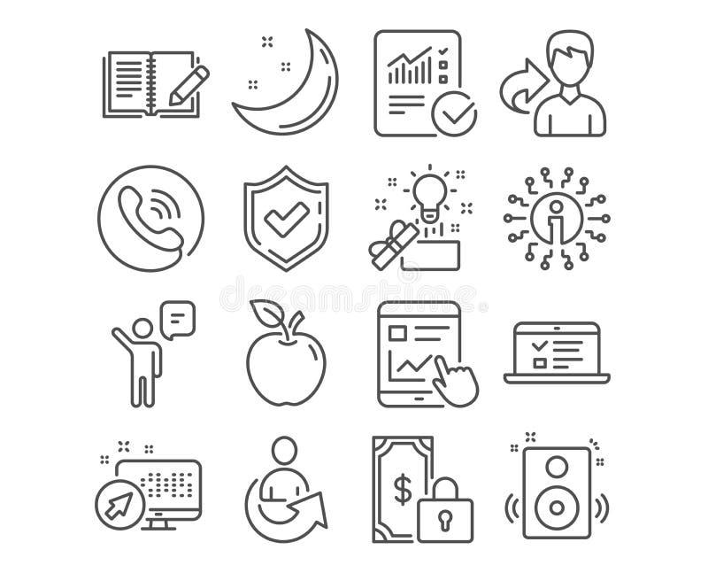 Feedback-, Netzvorträge und Mittelikonen Internet-Bericht, kreative Idee und Sprecherzeichen Vektor vektor abbildung