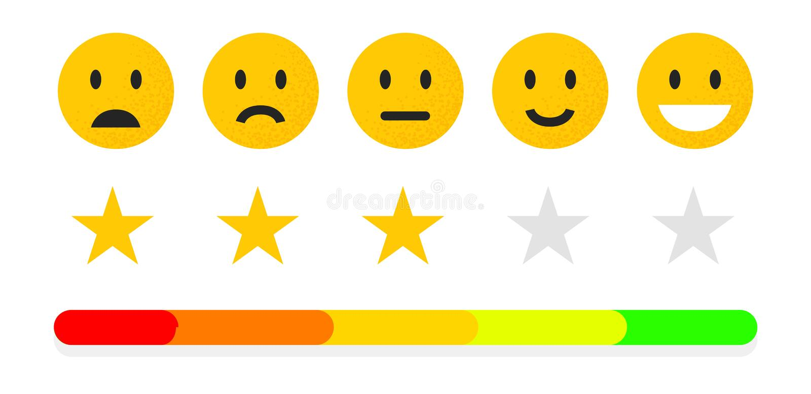 Feedback or quality control. Rating mood with smiles, emoji or smile face. User review of service. Vector icons positive. Neutral and sad stock illustration