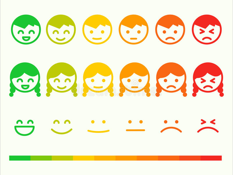 Feedback rate emoticon icon set. Emotion smile ranking bar. Vector smiley face customer or user review, survey, vote rating. stock illustration