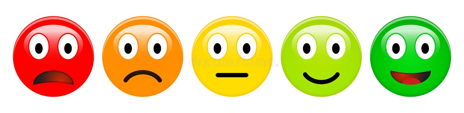 Feedback rating scale of red, orange, yellow and green emoticons, 3d Smiley icons in different colours. vector illustration