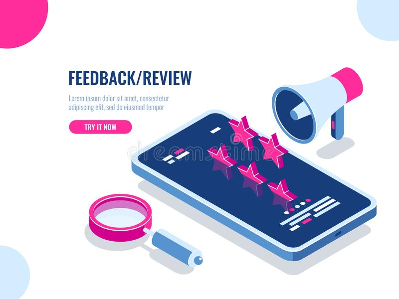 Feedback and review on mobile application, recommendation message, reputation on the Internet, mobile digital. Advertising isometric vector illustration royalty free illustration