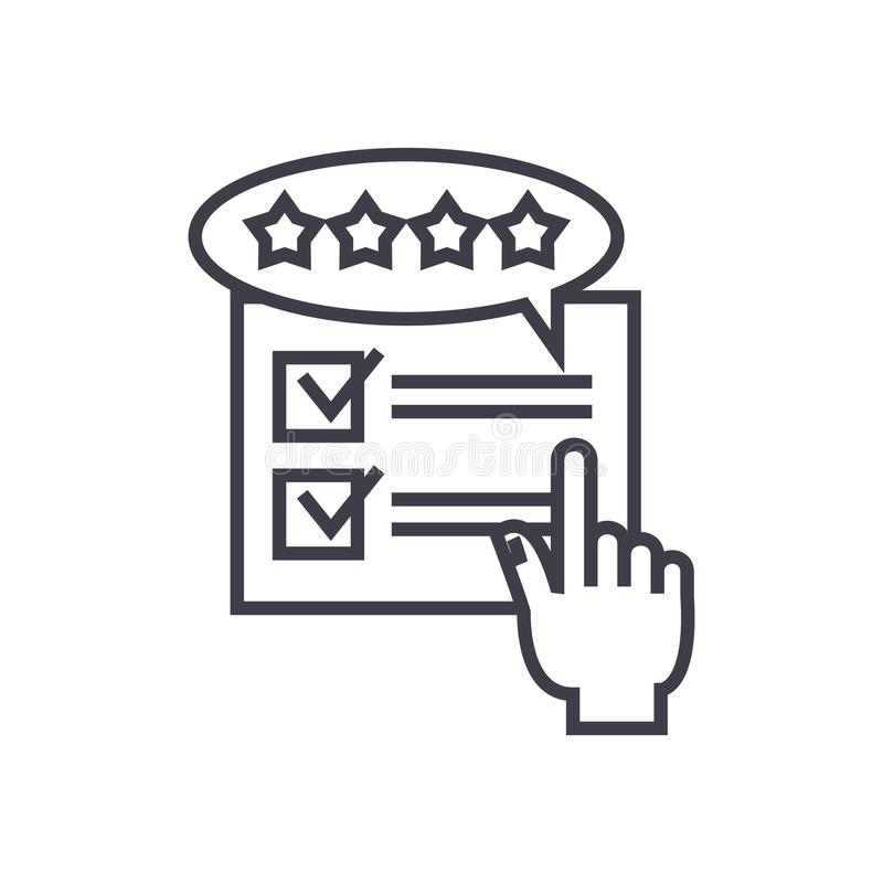 Feedback, review, rating concept vector thin line icon. Sign, symbol, illustration on isolated background royalty free illustration