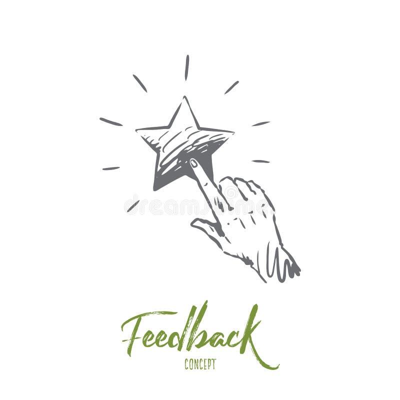 Feedback, Stern, Service, Qualität, Kennzeichenkonzept Hand gezeichneter lokalisierter Vektor vektor abbildung