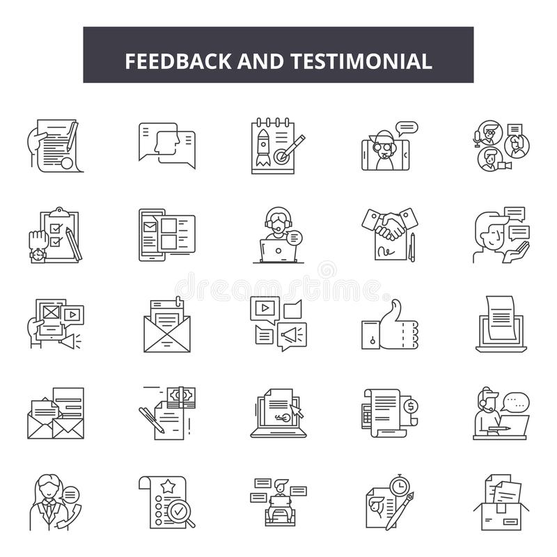 Feedback testimonial line icons, signs, vector set, outline illustration concept. Feedback testimonial line icons, signs, vector set, outline concept vector illustration