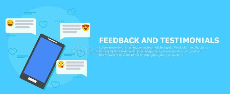 Feedback- und Referenzfahne Telefon mit Berichten, Emoticons und Kommentaren lizenzfreie abbildung