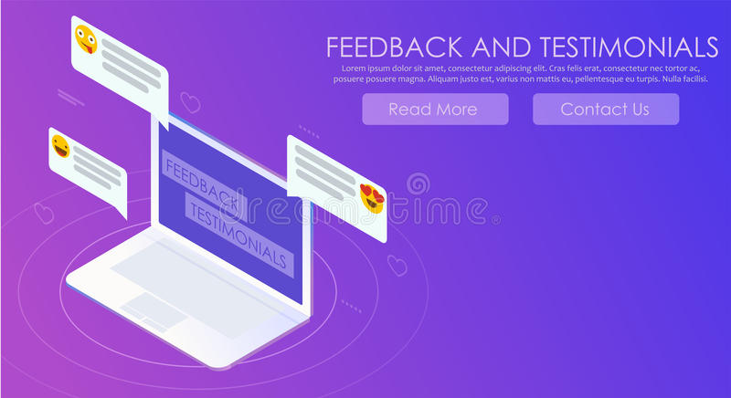 Feedback- und Referenzsteigungsfahne Computer mit Berichten und Emoticons lizenzfreie abbildung