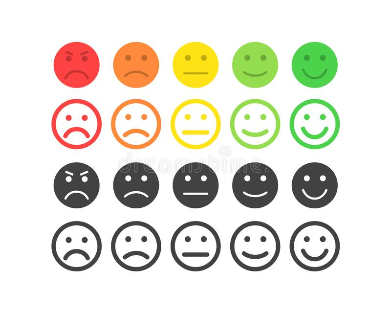 Feedback vector concept. Rank, level of satisfaction rating. Excellent, good, normal, bad awful. Feedback in form of. Emotions, smileys, emoji. User experience vector illustration
