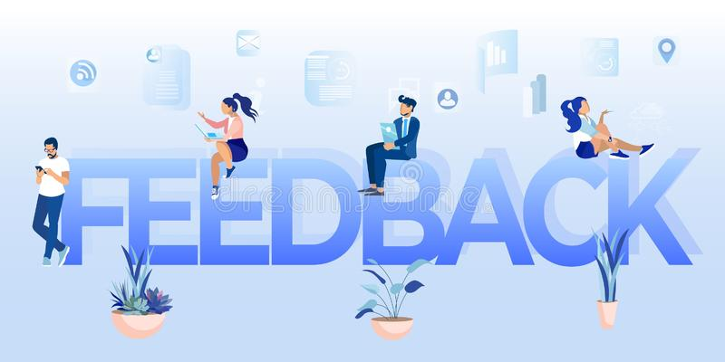 Feedback Word and People Networking Online Cartoon. Feedback Word from Huge Letters. Small Cartoon People Male Female Characters Networking Online via Digital vector illustration