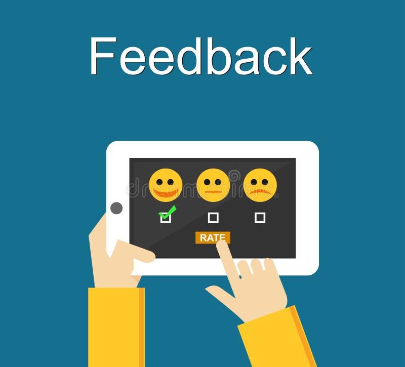 Feedbackillustration Flaches Design Feedback oder Bewertungssystem auf Telefonschirm Geben des Feedbackkonzeptes vektor abbildung