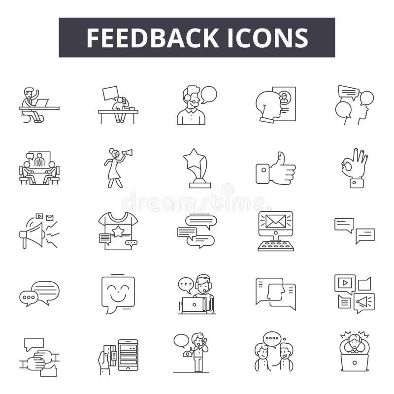 Feedbacklinie Ikonen für Netz und beweglichen Entwurf Editable Anschlagzeichen Feedbackentwurfs-Konzeptillustrationen stock abbildung