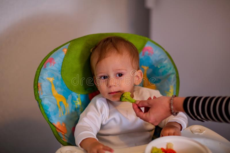 Feeding baby with vegetables -cute baby refuses to eat broccoli. Feeding baby with vegetables –cute baby boy refuses to eat broccoli royalty free stock photo