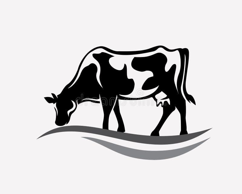 Feeding cow stylized vector royalty free illustration