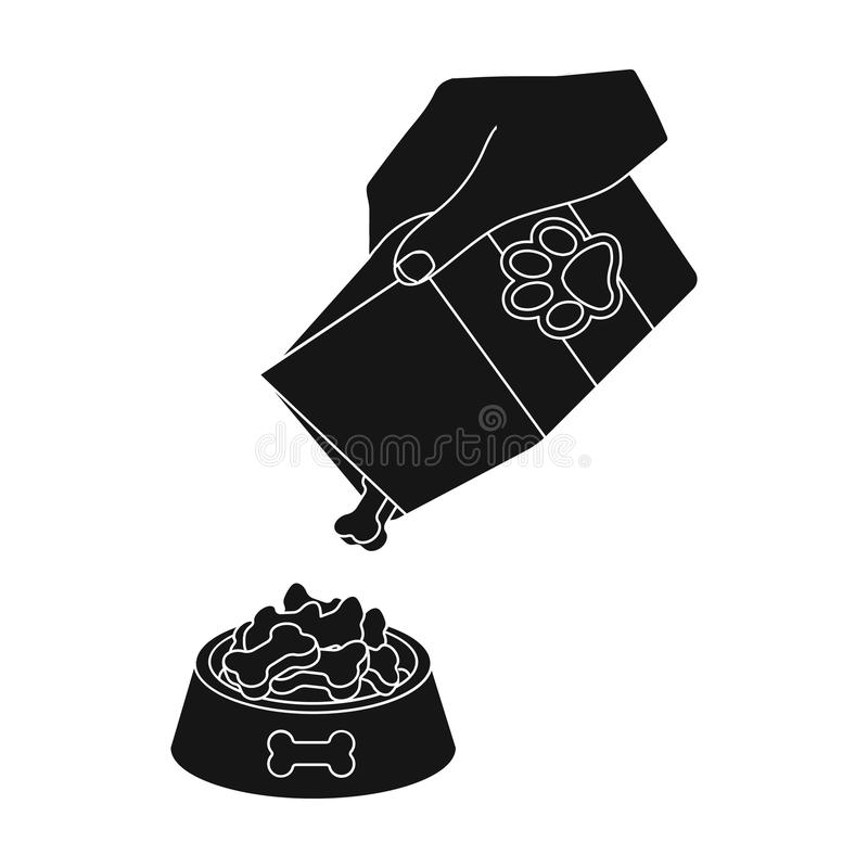 Feeding a pet, feed in a bowl. Pet,dog care single icon in black style vector symbol stock illustration web. Feeding a pet, feed in a bowl. Pet,dog care single royalty free illustration