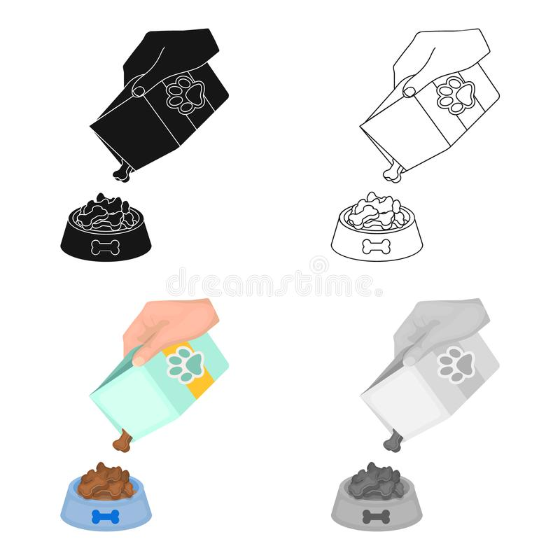 Feeding a pet, feed in a bowl. Pet,dog care single icon in cartoon style vector symbol stock illustration web. Feeding a pet, feed in a bowl. Pet,dog care royalty free illustration