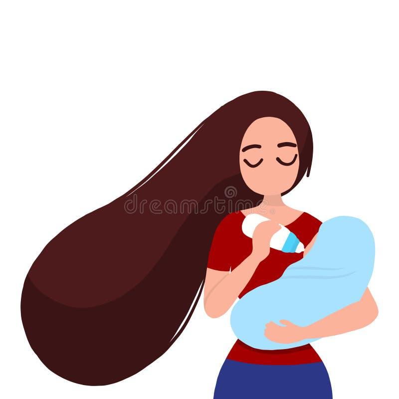 Feedng da mãe um bebê ilustração royalty free