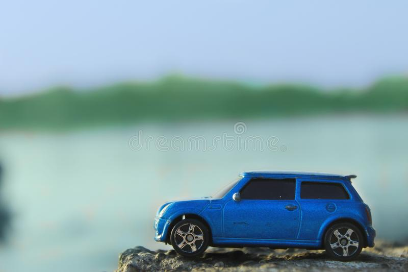 feel the blue sky in blue car royalty free stock image