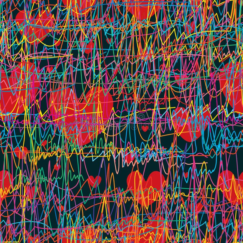 Feel of breathe line love seamless pattern stock illustration