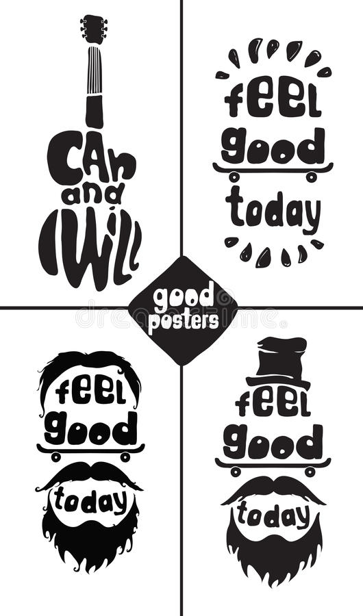 Feel good today. I can and I will. Posters royalty free illustration