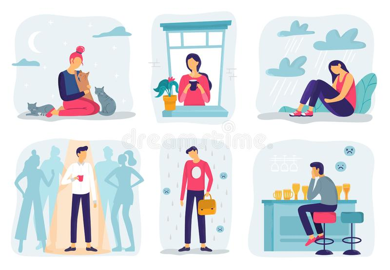 Feel lonely. Loneliness feelings, feeling isolated and fear of being alone vector illustration set stock illustration