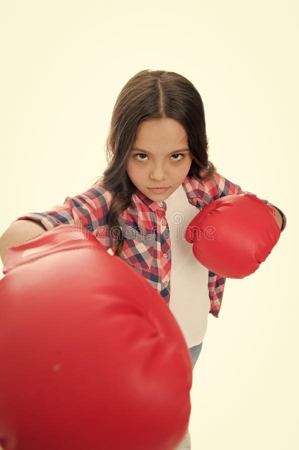 Feel powerful. Girls power concept. Feminist upbringing and female rights. Fight for her rights. Female rights and. Liberties. Girl boxing gloves ready to fight royalty free stock photography