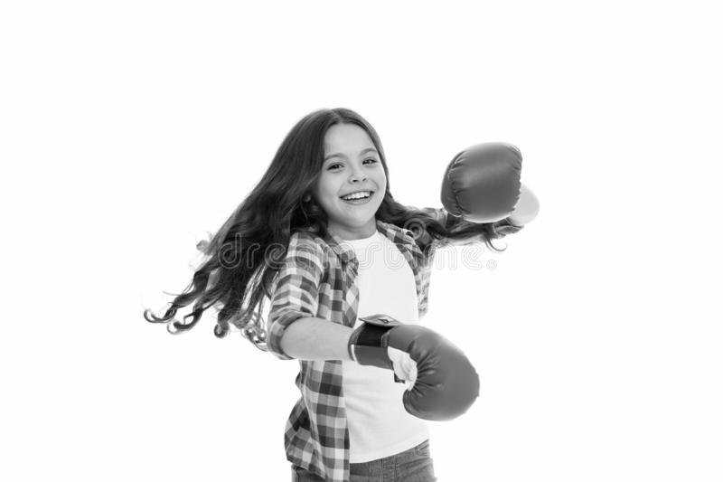 Feel strong and independent. Girls power concept. Upbringing confidence and strong character. Female rights and. Liberties. Girl boxing gloves ready to fight royalty free stock photography