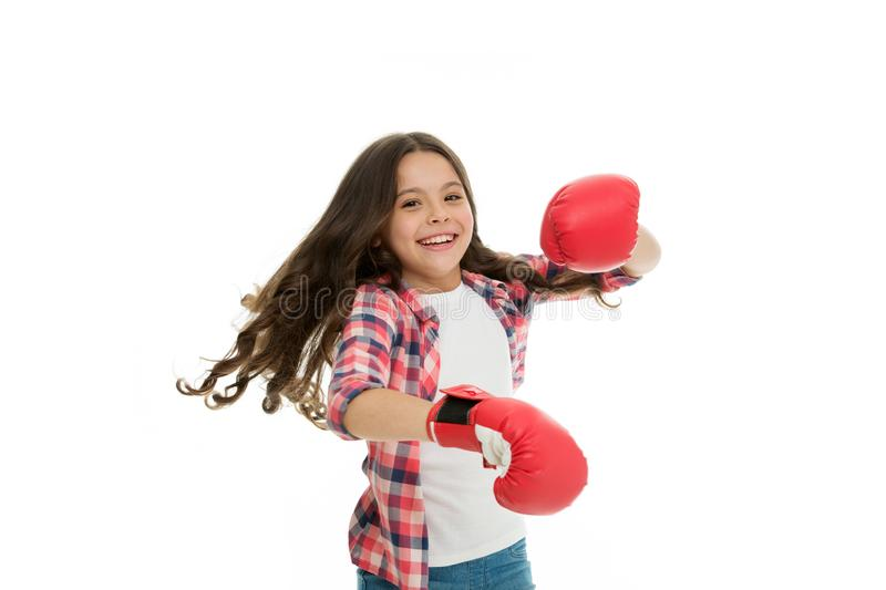 Feel strong and independent. Girls power concept. Upbringing confidence and strong character. Female rights and. Liberties. Girl boxing gloves ready to fight stock photo