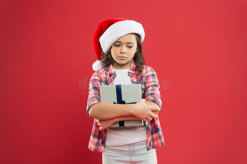 Feel unhappy now. christmas kid shopping. best gift for xmas. little girl sad about present. happy new year gift. time royalty free stock image