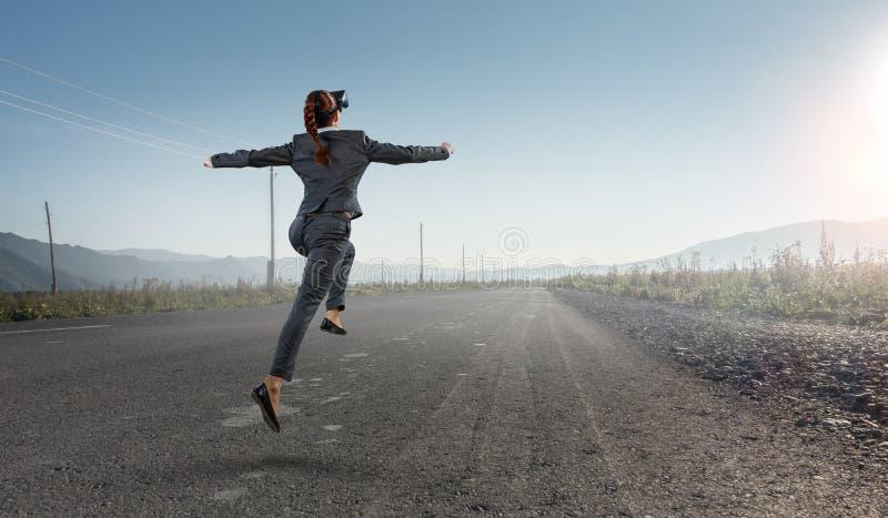 Feel virtual reality. Mixed media stock image