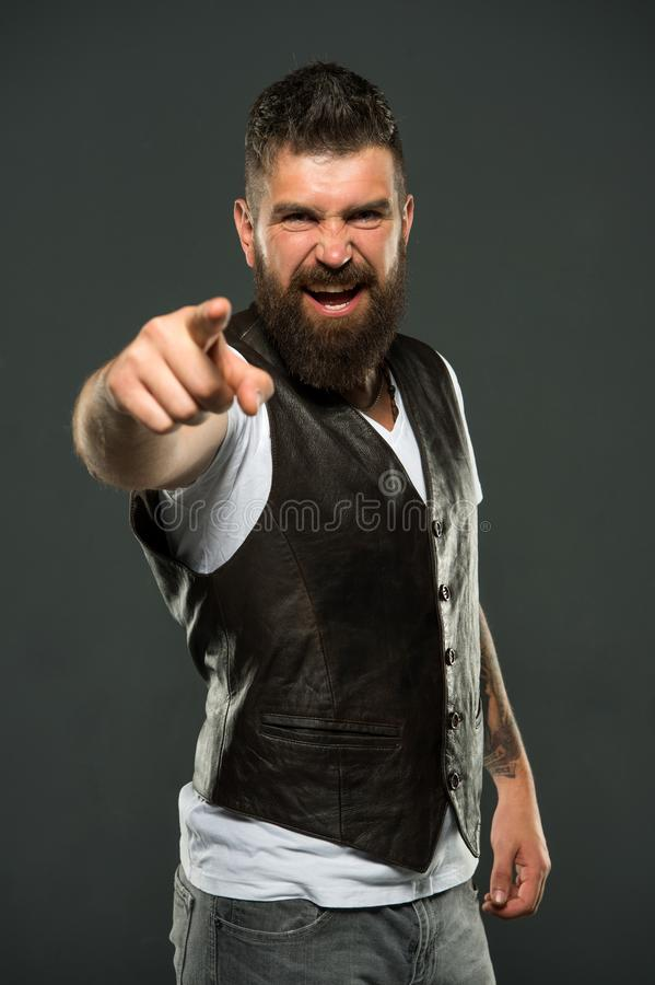 Feeling angry. Bearded man. Male barber care. Hair and beard care. Confident and handsome Brutal man. Mature hipster royalty free stock photography