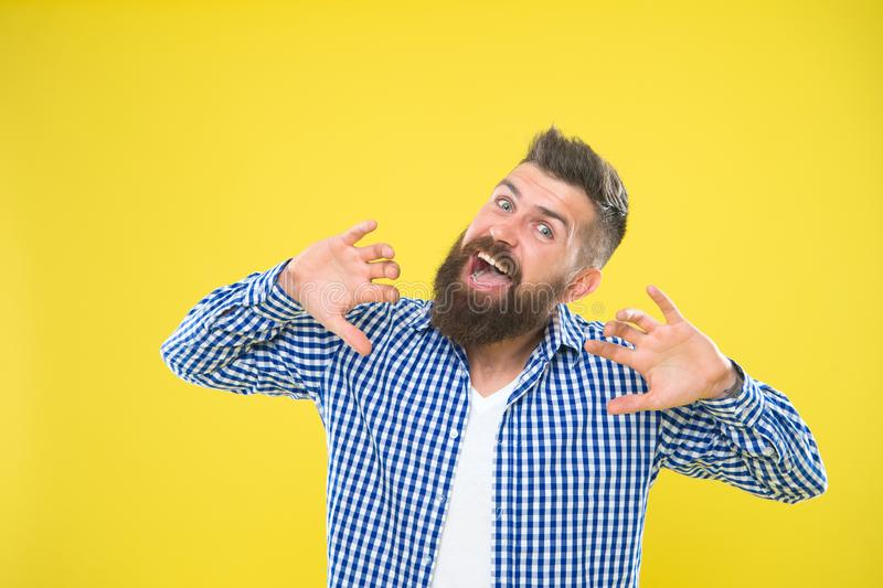 Feeling awesome. Beard fashion and barber concept. Man bearded hipster stylish beard yellow background. Barber tips. Maintain beard. Beard and mustache care stock photo