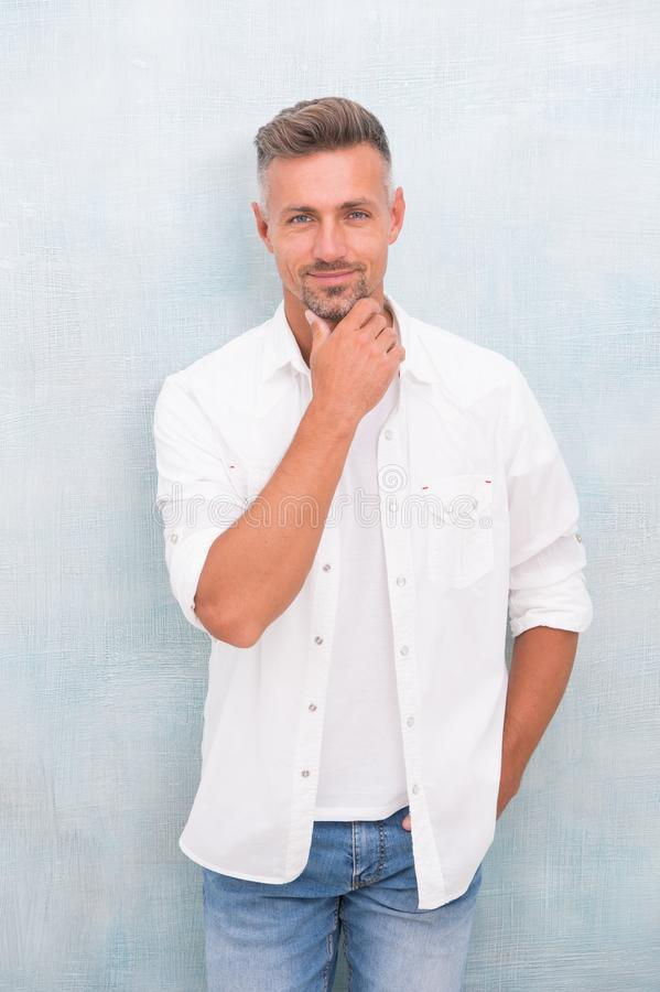 Feeling comfortable day by day. Menswear and fashionable clothing. Man looks handsome in casual shirt. Guy with bristle. Wear casual outfit. Fashion concept stock photos