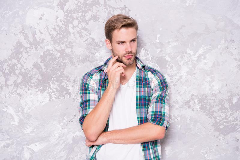 Feeling comfortable. Menswear and fashionable clothing. Man looks handsome casual style. Guy bristle wear casual outfit stock images