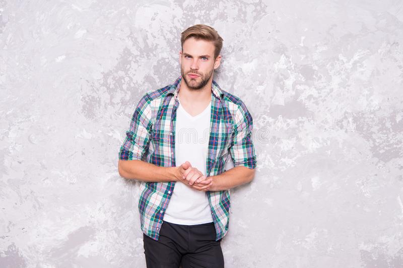 Feeling comfortable. Daily outfit. Clothes shop. Guy wear casual outfit. Black friday total sale. Fashion store royalty free stock photo