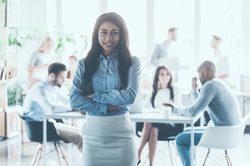 Feeling confident in her team. stock image