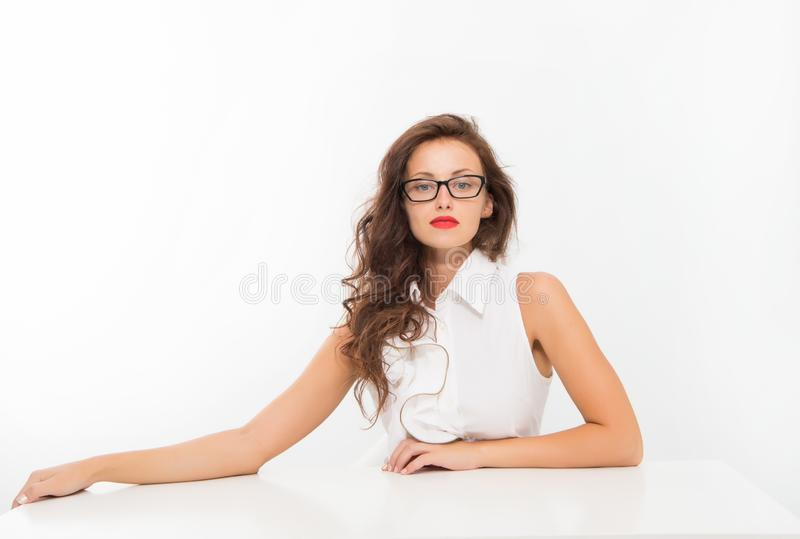 Feeling flirty. Welcome on board. Pretty school teacher or student. Fashion beauty. Business school coach. Dress code. Businesswoman. Back to school. Girl with stock photo