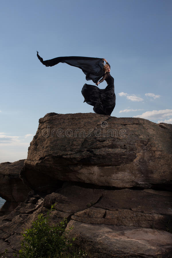 Feeling of freedom in the wind stock photos