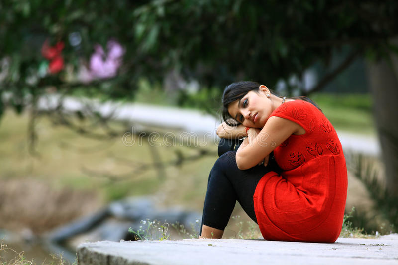 Download Feeling lonely stock image. Image of girl, outdoor, emotions - 22463155