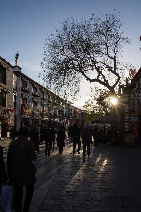Feeling religion in lhasa city stock photography